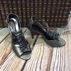 "PIERRE DUMAS DARK GRAY/PEWTER HEELS/SHOES These are gorgeous with a pretty ruffle embellished top peep toe and closed heel. 4"" heels. No damage Pierre Dumas Shoes Heels"