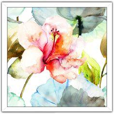 """FramedCanvasArt.com """"Pink Flower 1"""" Framed Plexiglass Wall Art"""