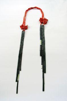 Mariko Sumioka, bamboo necklace, 2012, oxidised copper, enamel, kimono silk.