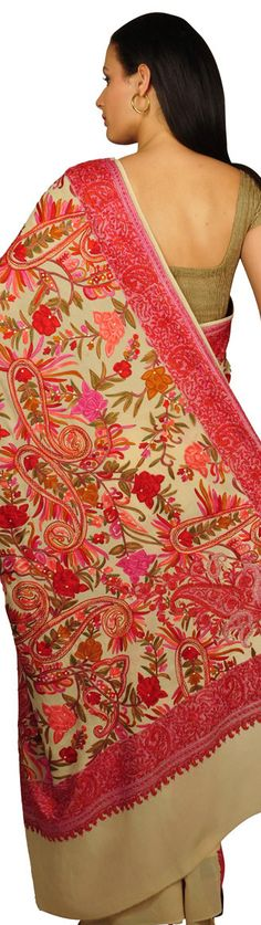 Kashida/ Sozni Kashmiri hand embroidery on Saree - original pin by @webjournal
