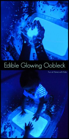 Fun at Home with Kids: Edible Glowing Oobleck just did this tonight with my son! We had a blast! Ours didn't glow very well, I think the black light bulb was too far from us or we need one that is stronger. Sensory Bins, Sensory Activities, Craft Activities For Kids, Sensory Play, Toddler Activities, Projects For Kids, Crafts For Kids, Craft Ideas, E Mc2
