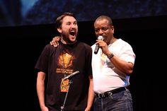 Wil Wheaton's reaction while LeVar Burton begins singing the Reading Rainbow theme song