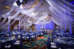 """Reception Décor... talk about a """"wow"""" factor! this ceiling draping is gorgeous!"""