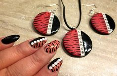 Coral zebra - polymer clay jewelry set that fits my nail design