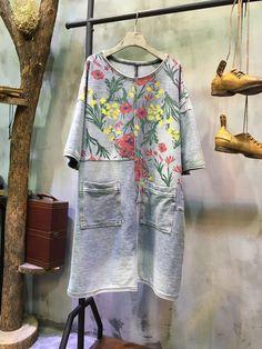 New Arrival Front Pocket Flowers Print Dress Loose Denim Dress    #print #denim #flowers #aline #shift #loose #amazing #boutique #dress