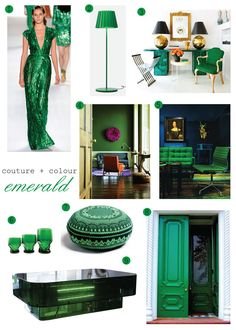 emerald city world --  Elie Saab's Spring 2012 collection gown and lots of emerald green -- a great foil for blue & white
