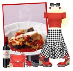 """""E"" is for Eggplant Parmesan"" by krusie ❤ liked on Polyvore featuring Dolce&Gabbana, Alice + Olivia, Tommy Hilfiger, Clinique, Topshop and Lele Sadoughi"