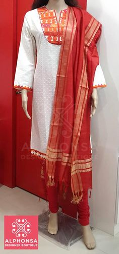 COTTON KURTI SILK DUPATTA AND LEGGINS