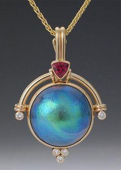 abalone pearl + tourmaline + diamond