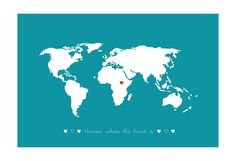 World Map / Home is where the heart is : Poster - Personalized custom Wedding Birthday Anniversary Gift Children Kids Home Decor Minimalist Baby, Minimalist Nursery, World Map Art, Office Art, Wedding Anniversary Gifts, Where The Heart Is, Kids House, Kids Gifts, Custom Framing