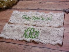 Monogrammed Garter, Monogram, Personalized Garter, Green Garter, Custom Garter, Garter, Apple Green, Wedding, Bride, Bridal, Tag, You're It by BloomsandBlessings on Etsy