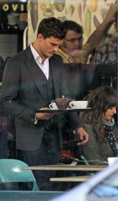 Filming begins: First pictures of the 'Fifty Shades of Grey' filming, on a Vancouver (Canada) cafe #fsog #movie #filming