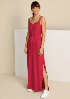 d0cb29096 Vestido longo básico em tecido sarjado de viscose com fendas laterais |  Vermelho | Tam.XG | Hering