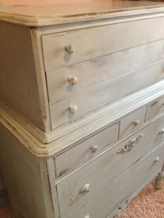 Antique Dresser Painted In Blue And Distressed Piece French Country Shabby  Cottage Victorian