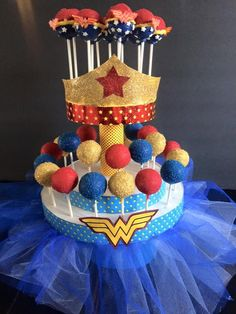 Wonder Woman Kids Fancy Dress Costume - Perfect for everyday Supergirls . for book week, fancy dress party or halloween Baby Wonder Woman, Wonder Woman Cake, Wonder Woman Party, Wonder Women, Girl Superhero Party, Girls Party, Ladies Party, Superhero Cake Pops, Wonder Woman Birthday Cake
