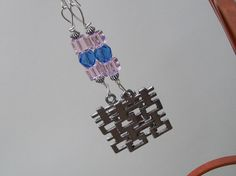 Pink and Blue Crystal Zen Pagoda Earrings by BirdysNest on Etsy, $10.00