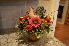 Red And Gold Rooster Arrangement by kristenscreations on Etsy