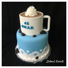 Custom Cakes, Coffee Cups, Birthday Cake, Desserts, Food, Personalized Cakes, Tailgate Desserts, Coffee Mugs, Deserts