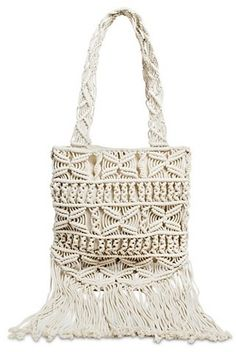 Mossimo Supply Co. Women's Fringe Macrame Tote Handbag - Ivory on shopstyle.com