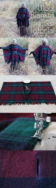 Wrap up in Style with this DIY Wool Blanket Coat. Ok, you'd have to have the PERFECT blanket to make this poncho, def not these colors, but it might work. Sewing Hacks, Sewing Tutorials, Sewing Crafts, Sewing Projects, Sewing Patterns, Tutorial Sewing, Diy Projects, Sewing Basics, Sewing Diy