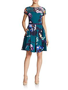 Floral Print Belted Fit-And-Flare Dress