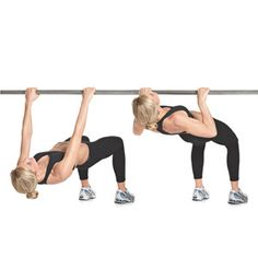 Modified Inverted Row - these are like doing horizontal chinups. To make it harder stretch your legs out straight infront of you and hold a strong plank pose.