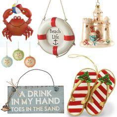Fun Beach Christmas Ornaments
