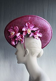 Raina Lehmann | Ladies Hats |   Hand-dyed upturned dish hat with orchid sprays 2011