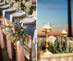 Blush, Navy and Gold Wedding Reception Décor at Hilton Clearwater Beach; Clearwater Beach, Florida | Navy Burlap Table Linens with Blush Satin Chair Sashes by Over The Top Linens on Gold Chiavari Chairs by Signature Event Rentals with Tall, Gold Candelabras