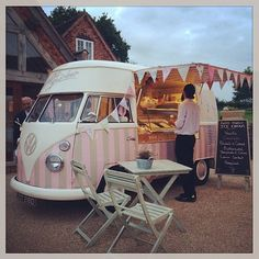 Florence sitting pretty in the dusk light~waiting to serve delicious ice~creams ~ our ice cream van available for wedding hire http://www.pollys-parlour.co.uk/