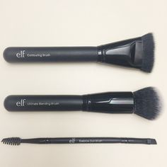 3 new brushes from e.l.f., coming out this month!  A blending brush, contour brush, & dual-ended brow brush.