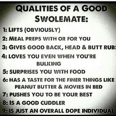 "I am all of those, just need to find my ""swolemate"" :)"