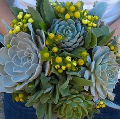 blue and yellow succulent bouquet!