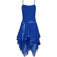 Forever Womens Plain Chiffon Zigzag Hem Prom Party Ruched Belt Tie Dress