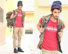 Get this look: http://lb.nu/look/5223324 More looks by HAMID KHOUYI: http://lb.nu/hamidkhayaii Items in this look: Supreme Red, Dr. Martens Black, Zara , Original Army Parka