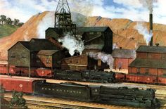 """""""Partners in National Defense"""" Steam freight train passing coal mine, composite site based on St. Industrial Artwork, Railroad History, Pennsylvania Railroad, Train Art, Magazine Illustration, Painting Gallery, Coal Mining, Steam Locomotive, Model Trains"""
