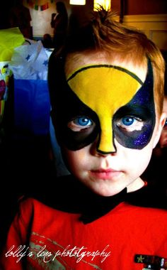 When you think about face painting designs, you probably think about simple kids face painting designs. Many people do not realize that face painting designs go Superhero Face Painting, Face Painting For Boys, Face Painting Designs, Body Painting, Superhero Makeup, Superhero Party, Wolverine, Cool Face Paint, Painting Station