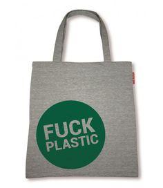 """Sticky Jam Sweet-Shopper """"Fuck Plastic"""" grün Polyester Tasche Einkaufstasche  - 2-flowerpower"""
