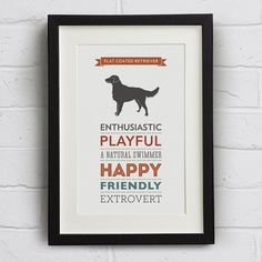 Flat Coated Retriever Dog Breed Traits Print on Etsy, $22.77