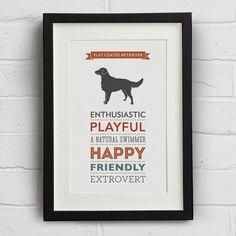 Flat Coated Retriever Dog Breed Traits Print on Etsy, $22.77