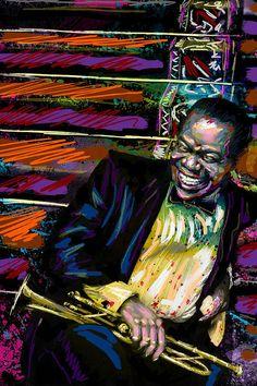 Louis Armstrong arte Jazz Original pintura por RockChromatic