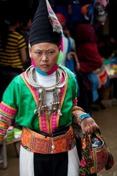 Hmong hill tribe girl at the Sunday Sin Ho market. Sin Ho market is 8 hours drive west of Sapa.