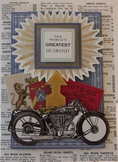 HAPPY FATHER'S DAY FOR HUSBAND MOTORCYCLE HANDMADE GREETING CARD ANNA GRIFFIN in Crafts   eBay