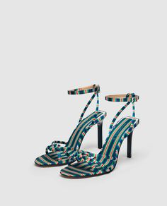 Zara - High-heel sandals with contrasting strap Sock Shoes, Cute Shoes, Me Too Shoes, Shoe Boots, Stiletto Shoes, Shoes Heels, Frauen In High Heels, Sneaker Heels, Dream Shoes