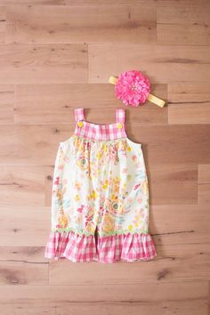 b7df04fc4 Peaches 'n Cream Sweet Pea Gingham Floral Romper & Headband Set. Southern  Moon Kids