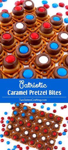 Red, white, and blue caramel pretzel bites - saving this!