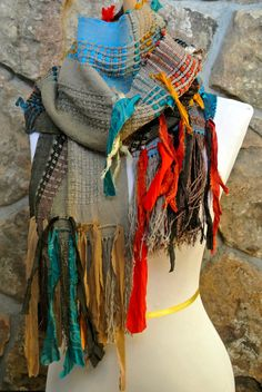 Saori Scarf with Recycled Sari Silk and by HandwovensbySherryK