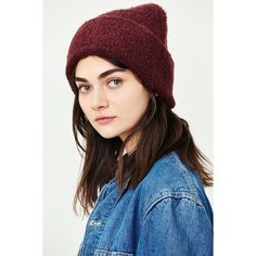 Boucle Wide Cuff Beanie ($29) ❤ liked on Polyvore featuring accessories, hats, maroon, maroon hat, beanie hats, slouch beanie, long slouchy beanie and slouchy beanie hat