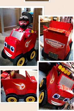 monster trucks blaze and crusher made from cardboard boxes monster truck birthday ideas. Black Bedroom Furniture Sets. Home Design Ideas