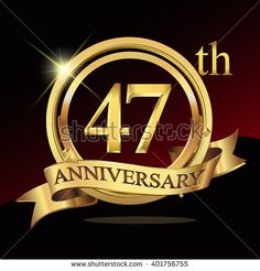 47th golden anniversary logo, 47 years anniversary celebration with ring and ribbon. - stock vector